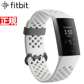 Fitbit フィットビット Charge3 チャージ3 フィットネス トラッカー ウェアラブル端末 腕時計 メンズ レディース White Sports Band/Graphite FB410GMWT-CJK