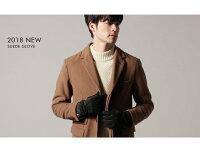 【スマホ手袋メンズグローブ】スマートフォン対応男性冬本革レザー羊革豚革ボア裏地裏起毛リブニットグローブ防寒ギフト