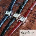 【腕時計 レディース】日本製 レザー スクエア フェイス ウォッチ クラシカル レザーベルト クオーツ fleur フルール …