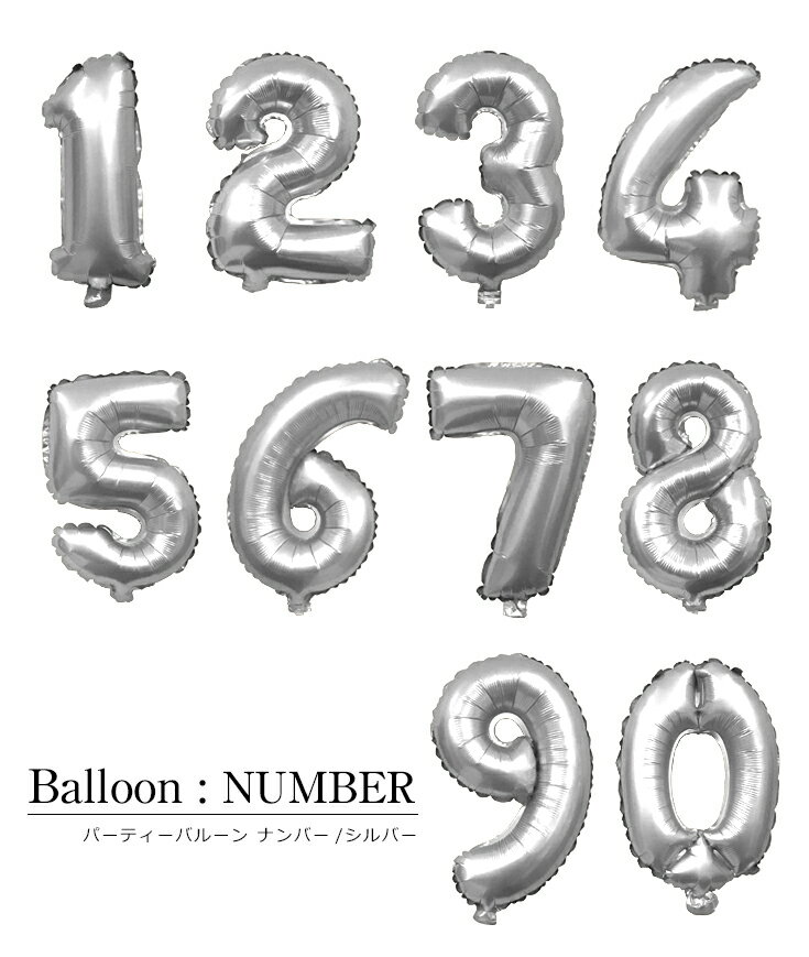 数字の風船【シルバー】送料無料 約40cm ナンバーバルーン お誕生日 お祝い 飾り付け バースデイ パーティー フィルム風船 02P05Nov16
