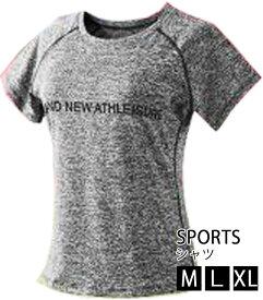スポーツシャツ2色 レディース フィットネス ランニング ヨガウェア フィットネスウェア トレーニング 半袖 Tシャツ 伸縮 【ゆうパケット送料無料】