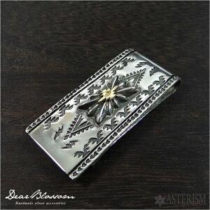 Dear Blossom(ディアブロッサム)シルバー 950 マネークリップ「スクエアサンバースト × K18 チマヨスタンプ」 SILVER 950、K18 【18金 銀 メンズ インディアン ネイティブ ジュエリー ハンドメイド