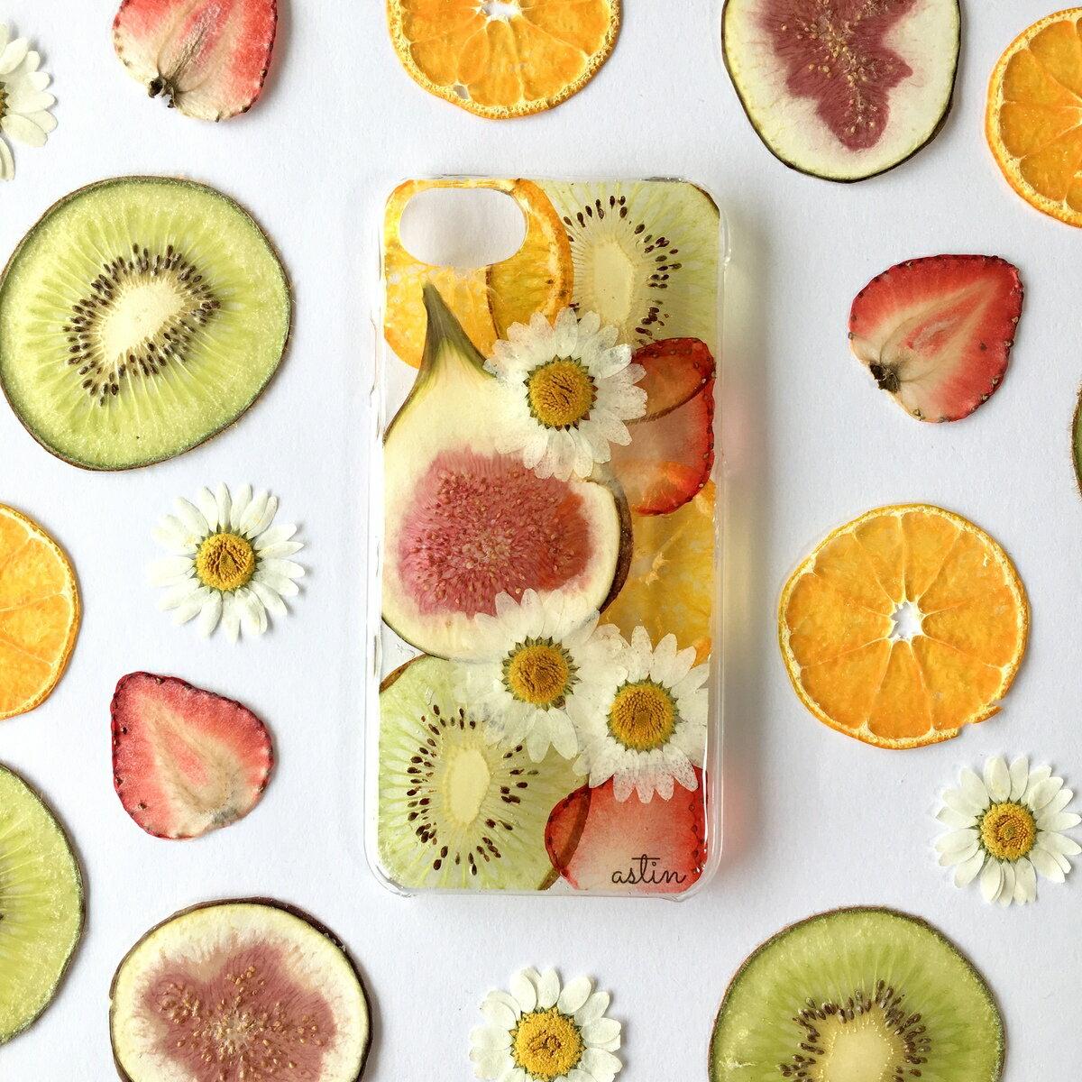 いちじくミックス 押し花 押しフルーツ レモン オレンジ フルーツ 果物 さわやか いちじく 大人 可愛い ケース カバー iPhone 送料無料 スマホケース 全機種対応 カバー アイフォン ケース iphone X