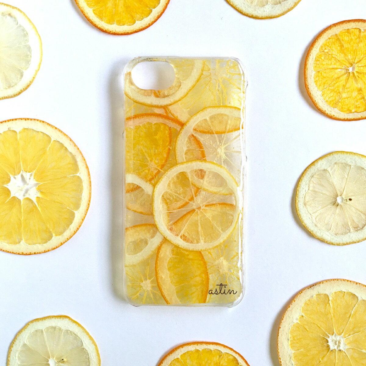 レモン&オレンジ 押し花 押しフルーツ レモン オレンジ フルーツ 果物 さわやか スマホケース 全機種対応 iphoneXR iphoneXS Max iphoneXS iphoneX iphone8 Xperia Huawei Galaxy スマホケース 秋