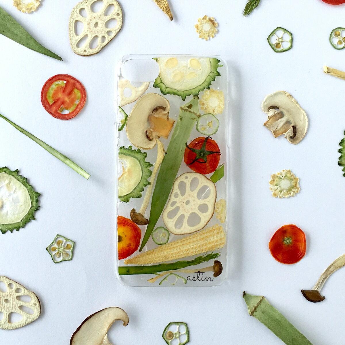 ベジタブルパズル 押し花 押し野菜 野菜 おくら 全機種対応 iPhone XS ケース iPhone XR iPhone XS max ケース iphone x ケース iphone8 iphone7ケース スマホ iphone8Plus