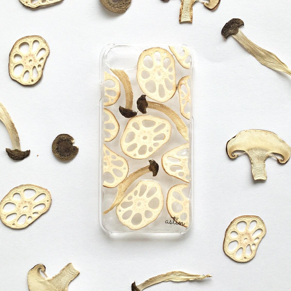 レンコンとしめじ 押し花 押し野菜 レンコン しめじ 野菜 全機種対応 iPhone XS ケース iPhone XR iPhone XS max ケース iphone x ケース iphone8 iphone7ケース スマホ iphone8Plus