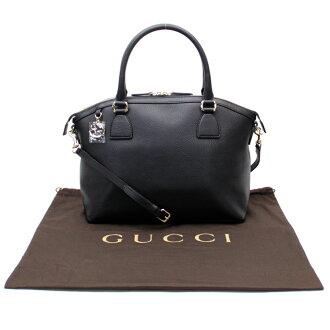 古驰Gucci 2Way包◆黑色皮革x黄金金属零件◆展览品◆449651-b10062