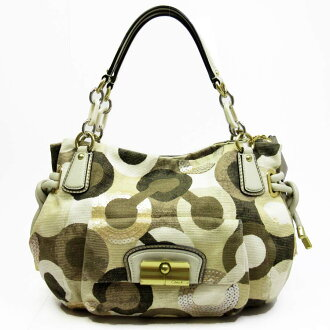 Coach COACH shoulder bag op art ◆ beige x khaki x silver x gold canvas x leather x spangles ◆ constant seller popularity ◆ Lady's - h13627