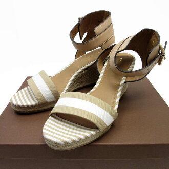 ★102 hours limitation! Shopping marathon ★ coach COACH sandals (37) beige x white canvas x leather Lady's - h15708