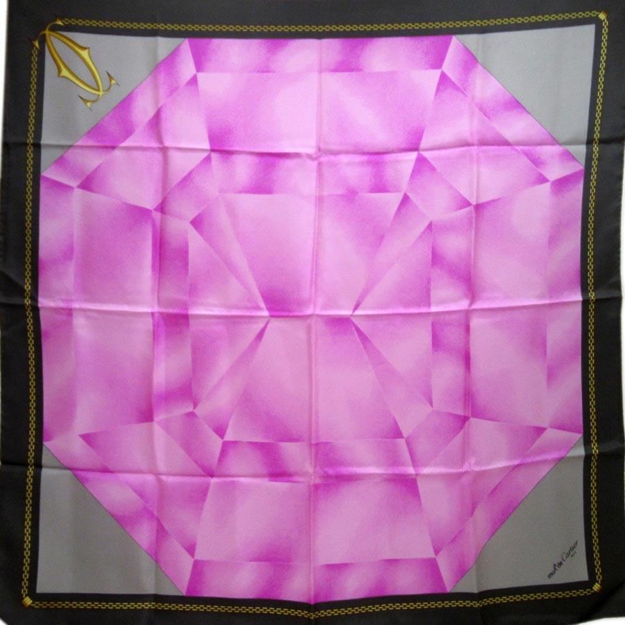 カルティエ Cartier スカーフ グレーxピンク シルク100% レディース【中古】【定番人気】 - h16561