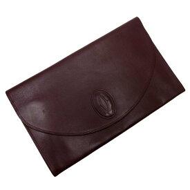 カルティエ Cartier クラッチバッグ 書類バッグ マストライン ボルドー レザー レディース メンズ 【中古】【おすすめ】 - t12552