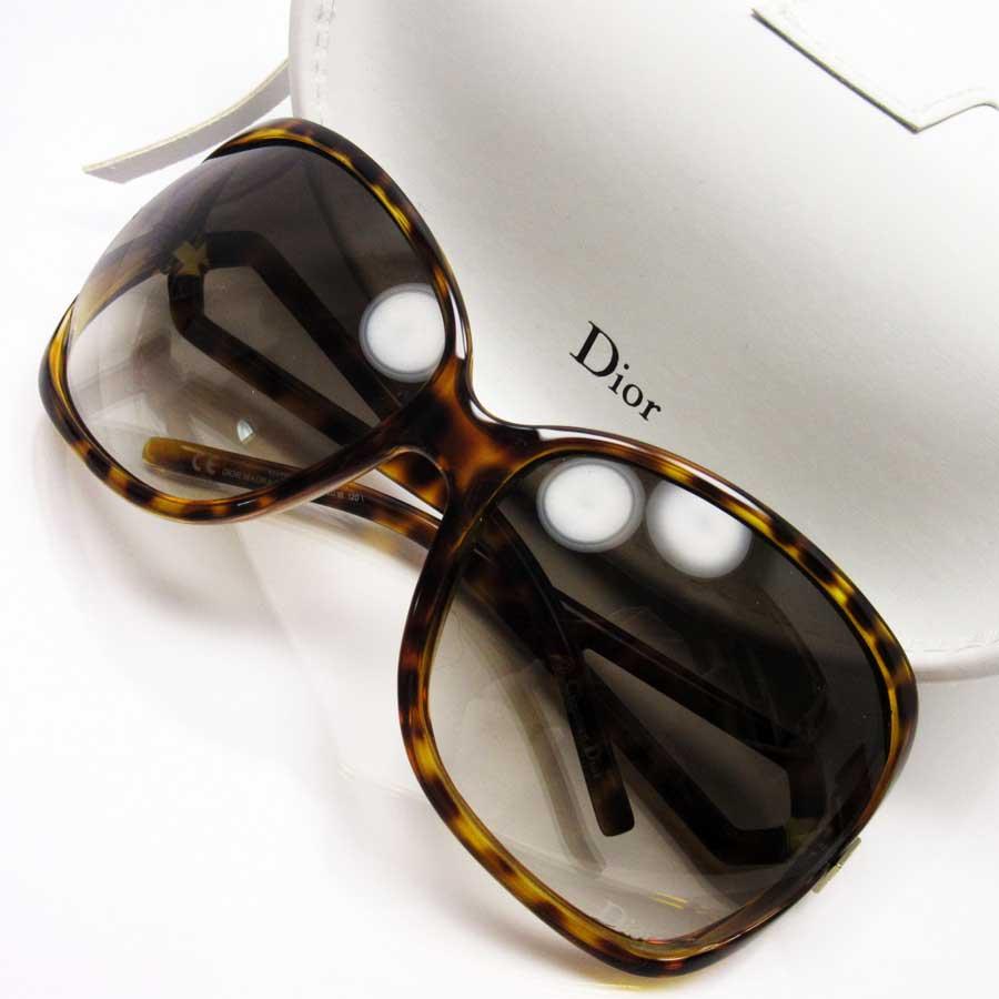 クリスチャンディオール Christian Dior サングラス 64□16 120 べっ甲 フレーム:イエロー/ブラウン レンズ:ブラウン プラスチック レディース 【中古】【定番人気】 - h17820