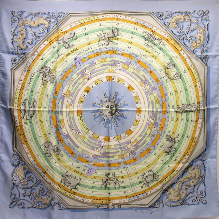 エルメス HERMES スカーフ 星座 ブルーxグリーンxオレンジ シルク100% レディース 【中古】【定番人気】 - h18632