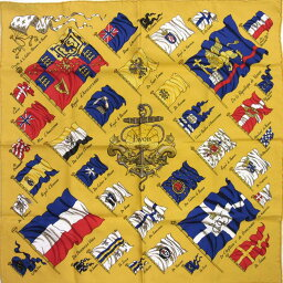 愛馬仕HERMES圍巾手帕PAVOIS船旗子微型他黄色x多色絲綢100%[中古][經典的人氣]-n8609