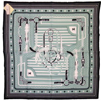 30% of Hermes HERMES scarf green x black x white cashmere 70% silk lady's - h19173