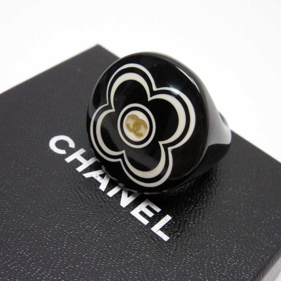 シャネル CHANEL 指輪 リング ココマーク ブラックxホワイト プラスチック レディース 【中古】【訳あり】 - h19458