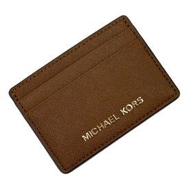 【新品同様】マイケルコース MICHAEL KORS カードケース 定期入れ パスケース ブラウンxゴールド レザー レディース 【中古】 - t13715