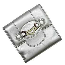 トッズ TOD'S Wホック二つ折り財布 シルバーxアイボリー レザーx金属素材 レディース 【中古】【定番人気】 - t14025