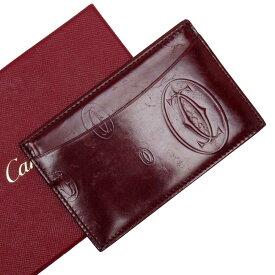 カルティエ Cartier カードケース 定期入れ パスケース ハッピーバスデー ボルドー パテントレザー 【中古】【定番人気】 - t15505