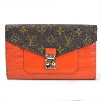 路易威登Louis Vuitton长钱包交织字母x epiporutofoiyu·迷迭香◆棕色x橙子x银子交织字母帆布x epireza◆经典的受欢迎的◆女士M60509-92448