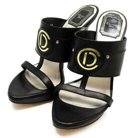 クリスチャンディオール サンダル ハイヒール(38) Christian Dior ブラックxゴールド レザー 【中古】【定番人気】 - h23834