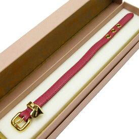 ミュウミュウ MIUMIU ブレスレット ピンクxゴールド レザーx金属素材 レディース 【中古】【定番人気】 - h24493f