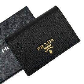 プラダ PRADA 二つ折り財布 NERO(ブラック)xゴールド サフィアーノレザー 【中古】【定番人気】 - t16693f