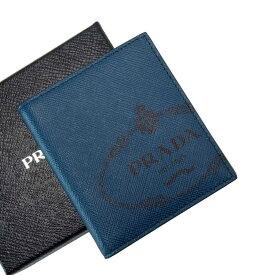【新品同様】プラダ PRADA 二つ折り札入れ ブルー系ブルーxネイビー サフィアーノレザー 【中古】 - t16699f