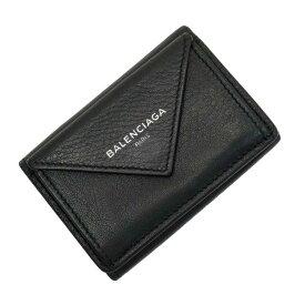 バレンシアガ BALENCIAGA 三つ折り財布 グレー系 レザー 【中古】【訳あり】 - 53553a
