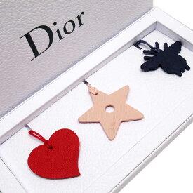 【新品】クリスチャンディオール Christian Dior バッグチャーム レッドxベージュ系xダークパープル レザー 【ノベルティ】 - g2438a