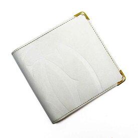 カルティエ Cartier 二つ折り財布 C2 ホワイトxゴールド レザー 【中古】【定番人気】 - g2451a