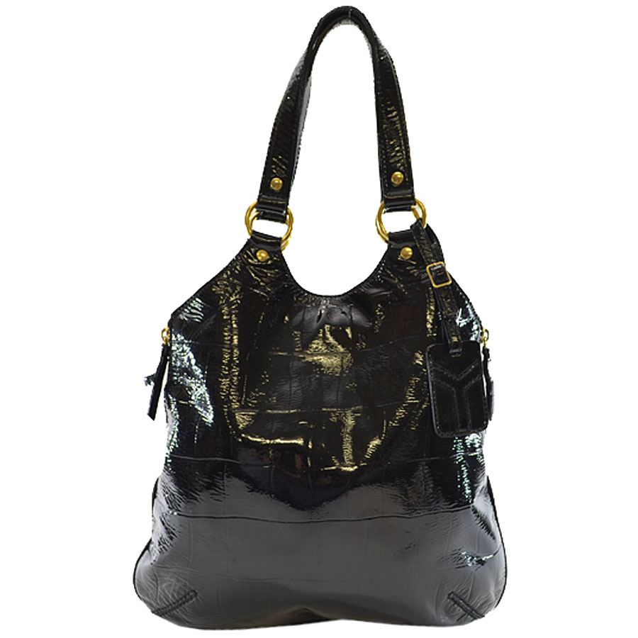 イヴサンローラン YVES SAINT LAURENT バッグ ◆ブラック エナメルレザー◆定番人気【中古】ショルダーバッグ ◆ - k6886