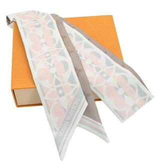 Louis Vuitton Louis Vuitton scarf monogram Bando Chemical Industries beige x pink x brown silk 100% ribbon scarf Lady's - k9124