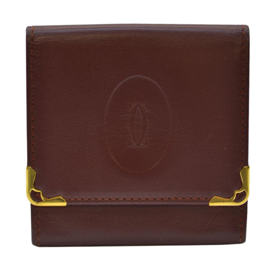 カルティエ Cartier コインケース マストライン ◆ボルドーxゴールドカラー レザーx金属素材 ◆定番人気 ◆レディース メンズ【中古】 - k8016