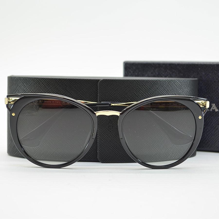 【新品同様】プラダ PRADA サングラス(54□20 145) レンズ:ブラックグラデーション フレーム&テンプル:ブラックxゴールドカラー プラスチックx金属素材 レディース メンズ 【中古】 - k9006