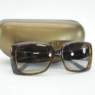 Gucci GUCCI sunglasses (56 □ 17 130) hose bit brown x gold plastic x metal material Lady's - r6974