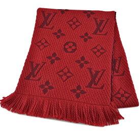 ルイヴィトン Louis Vuitton マフラー モノグラム エシャルプ・ロゴマニア レッド系 ウール94%xシルク6% レディース メンズ M72432 【中古】【定番人気】 - r7368