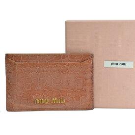 ミュウミュウ MIUMIU カードケース パスケース 名刺入れ ピンク系xゴールドカラー 型押しパテントレザーx金属素材 レディース 【中古】【定番人気】 - r8018f