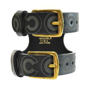 シャネル CHANEL バングル ブラックxダークグレーxゴールド レザーx金属素材 ブレスレット レディース メンズ 【中古】【おすすめ】 - r8076f