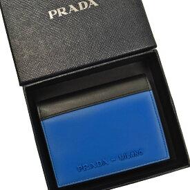 プラダ PRADA 財布 ブラックxブルー レザー 二つ折り レディース 【中古】【定番人気】 - 53597f