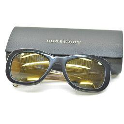 博柏利BURBERRY太陽眼鏡54□20 135◆透鏡:黑色架子&擔普爾:黑色x清除x黄金彩色塑料◆瑕疵[中古]◆女士人-k7888