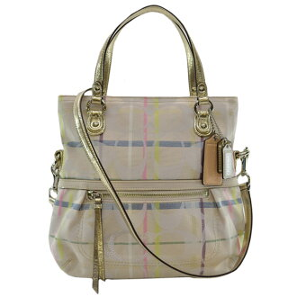 Coach COACH handbag signature ◆ white x gold x multicolored canvas x leather ◆ constant seller popularity 2Way bag ◆ Lady's - k7390