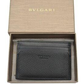 【美品】ブルガリ BVLGARI パスケース ブラック レザー カードケース メンズ 【中古】 - s0127