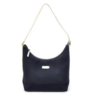 Gucci GUCCI shoulder bag dark navy x off-white nylon x leather Lady's - t9553