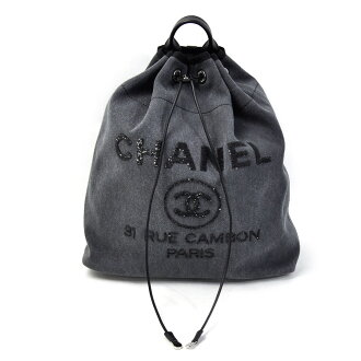 bd084d533 BrandValue: Chanel CHANEL rucksack backpack drawstring purse rucksack  Deauville line gray system canvas x spangles Lady's premium special feature  -93,379 ...