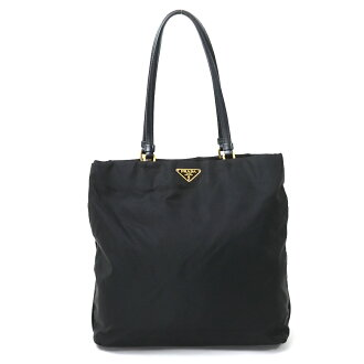 2c89304f5f39 Prada PRADA shoulder bag tote bag triangle logo plate black nylon x leather  Lady's 9,800 yen uniform - y12257