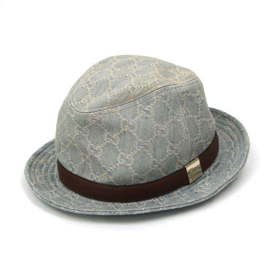 グッチ GUCCI 帽子 ハット GG柄 ライトブルーxブラウン 綿100%x牛革 283448 【中古】【おすすめ】 - x2060