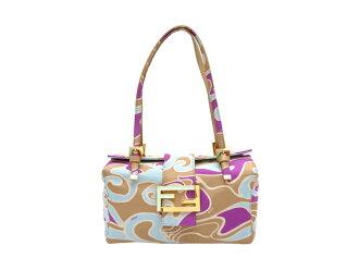 芬迪FENDI包标识Logo大理石花纹Marble◆多色Purple Brown紫色紫x棕色派帆布x金属材料◆经典的受欢迎的手提包挎包◆女士-e23853