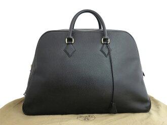 爱马仕HERMES baggusampuron Simplon复古Vintage黑色x黄金金属零件arudennureza经典的受欢迎的宽底旅行皮包手提包女士人紧急降价-e26997