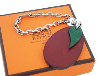 Hermes HERMES charm fruit charm egg plant eggplant purple leather x metal material constant seller popularity bag charm chain charm Lady's case cheap 9,800 yen uniform - e26703
